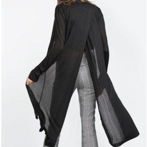 Zara Knit Split-Back Midi Duster Cardigan Black S